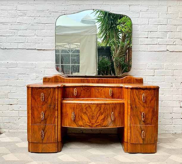 Vintage Art Deco Dressing Table With Mirror #D502