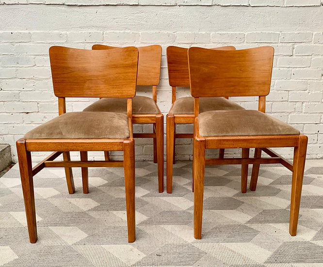 Set of Vintage Dining Chairs x 4 #D170