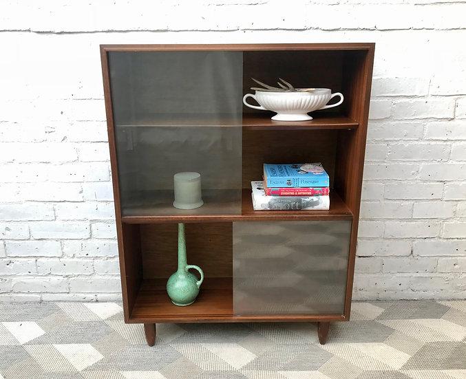 Vintage Bookshelf Cabinet Glass Wood #700