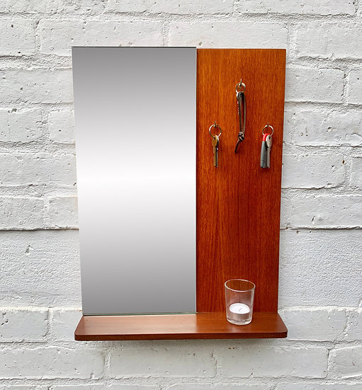 Vintage Teak Wall Mirror with Shelf and Hooks #D304