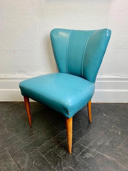 Vintage Italian Cocktail Chair Blue Vinyl #981