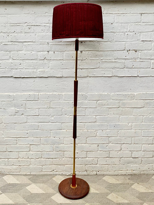 Vintage Teak and Brass Floor Lamp #D488