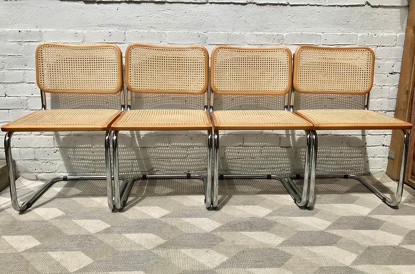 Set of 4 Marcel Breuer Chairs Wicker Wood #788