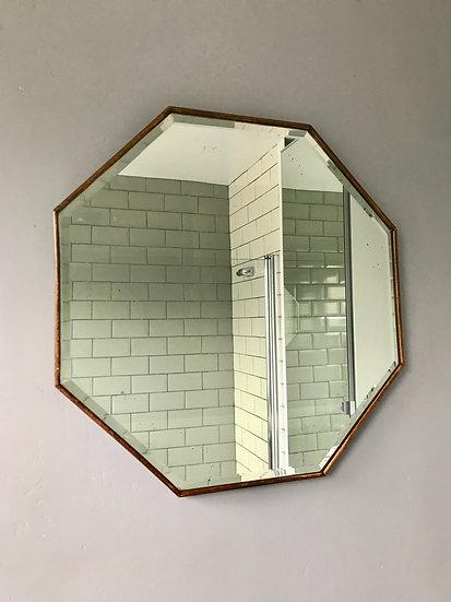 Vintage Hexagonal Wooden Mirror #441