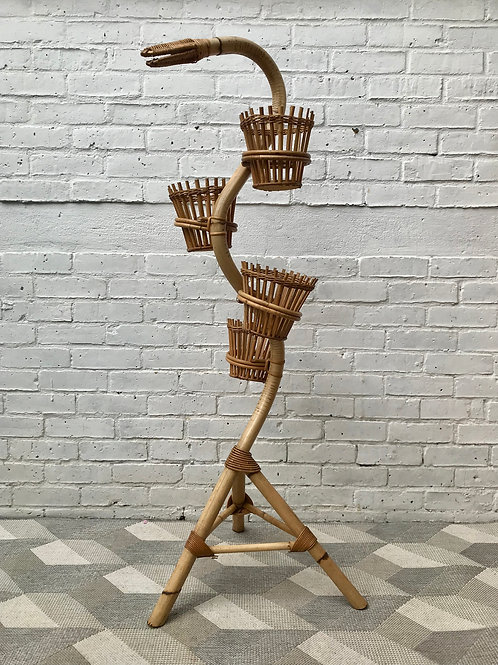 Vintage Plant Stand Bamboo Wicker French #685