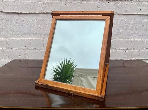 Vintage Folding Vanity Mirror Wooden #D309