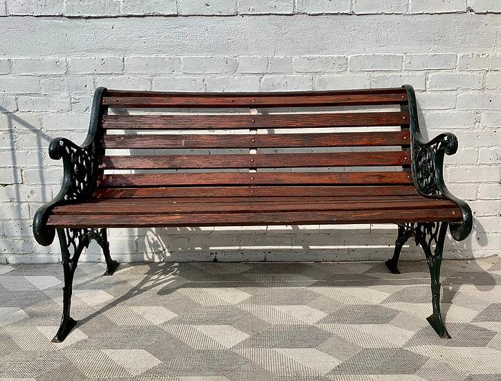 Vintage Garden Bench Cast Iron Wood #D43