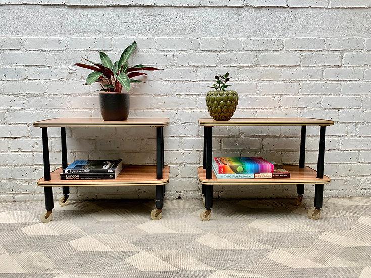 Pair of Vintage Side Tables Bedside Tables on Castor Wheels #D419