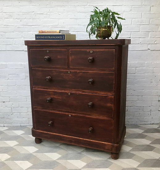 Large Victorian Chest of Bedroom Drawers #455
