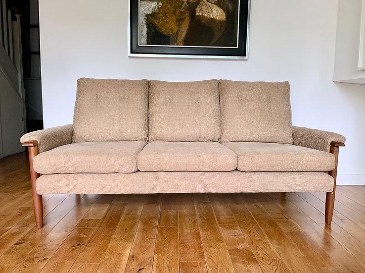 Vintage 3 Seater Sofa Settee Teak Beige