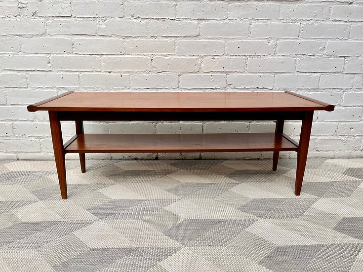 Vintage Teak Coffee Table with Shelf by Myer front