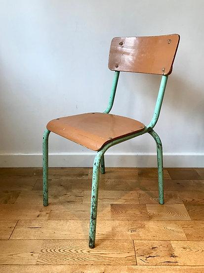 Vintage Desk Chair Metal Wood School #796