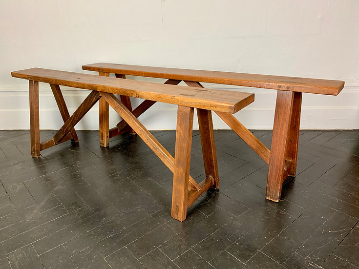 Pair of Antique Wooden Benches French Dining #918