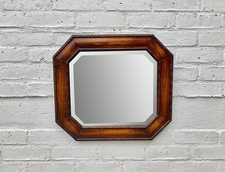 Vintage Octagonal Wall Mirror Wood Frame #D32
