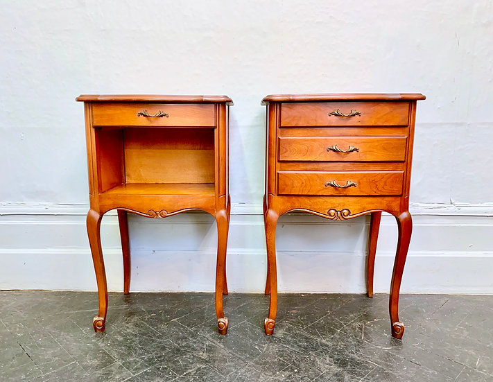 Pair of Bedside Tables French Vintage Drawers front