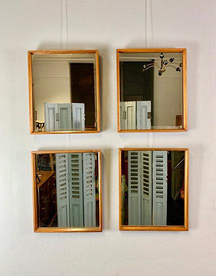 Set of 4 Vintage Rectangular Mirrors Teak Frames #938