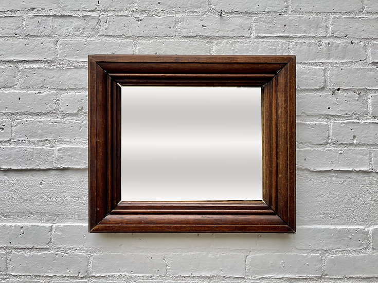 Old Rectangular Mirror with Thick Wooden Frame front