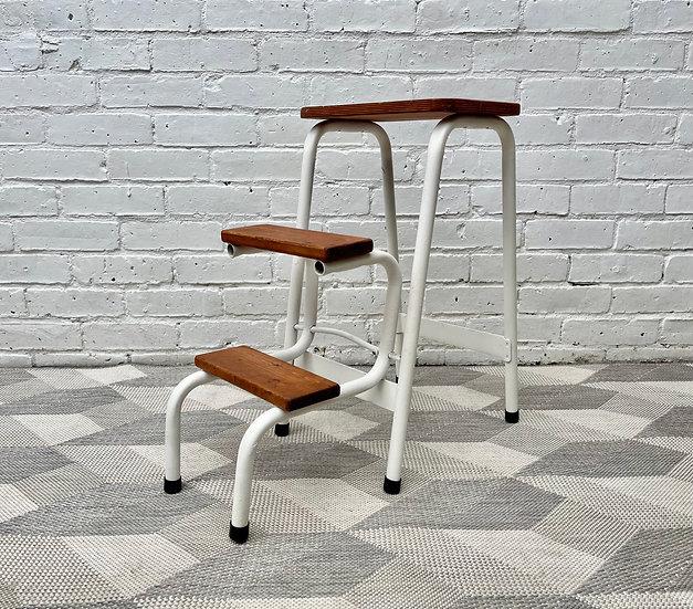 Vintage Folding Step Stool Metal corner