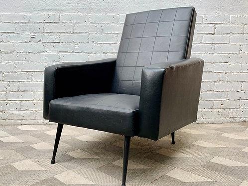Vintage Black Vinyl Armchair French corner