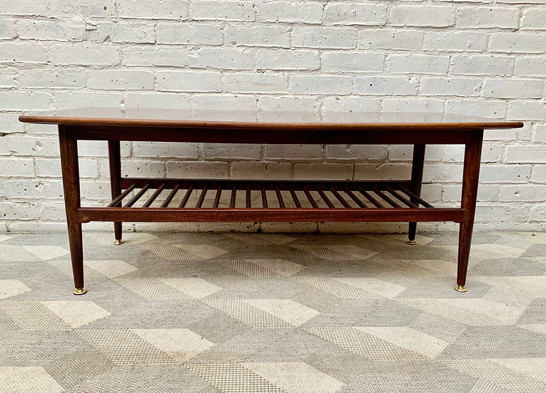 Large Vintage Coffee Table with Shelf #D282