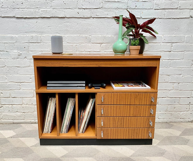 Vintage Record Cabinet Sideboard with Drawers#D435