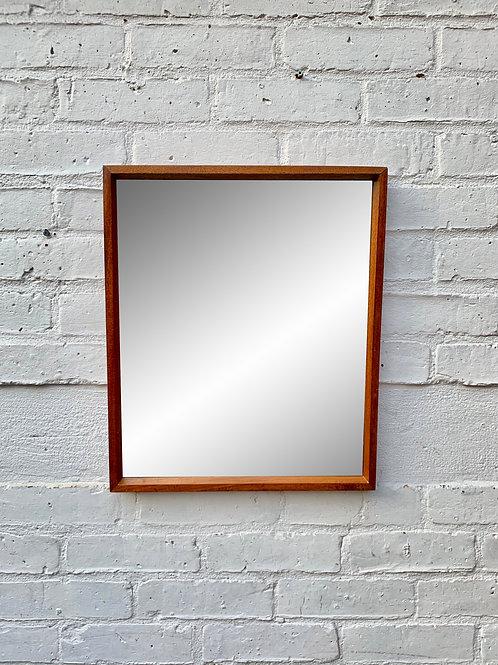 Vintage Wall Mirror Rectangular Teak Frame #D64