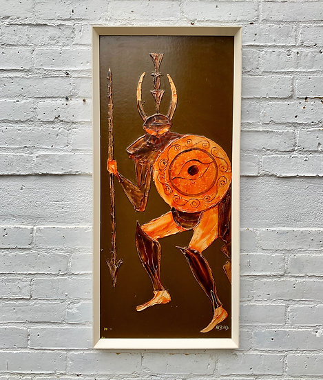 Vintage Painting of Abstract Greek Centurion Soldier front