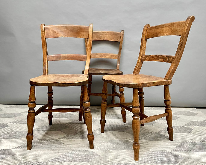 Pair of Victorian Wooden Kitchen Dining Chairs