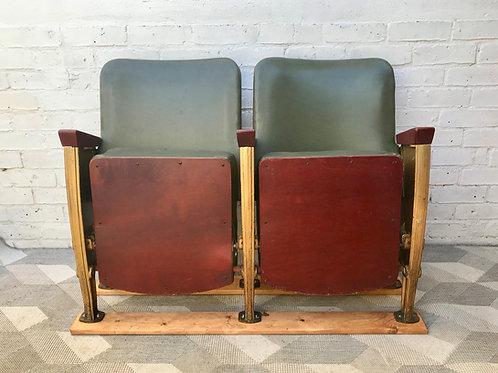 Vintage Cinema Theatre Seats Green Vinyl #903