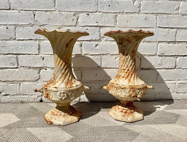 Pair of Vintage Cast Iron Urns #D143
