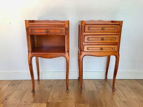 Pair of Bedside Tables French Vintage Drawers #864
