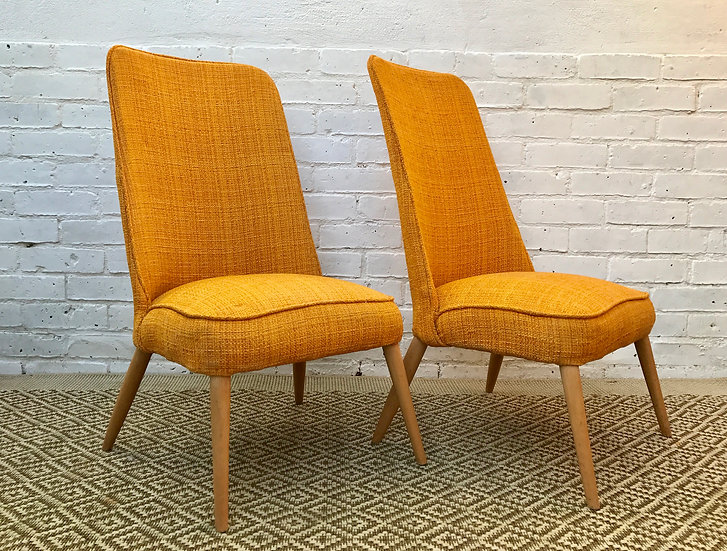 PAIR OF ORANGE COCKTAIL CHAIRS