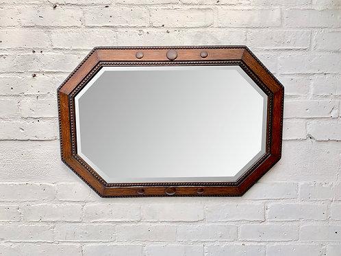 Vintage Octagonal Wall Mirror Wooden Frame #D42