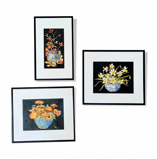 Set of 3 Still Life Paintings Early 20th Century Black Frames