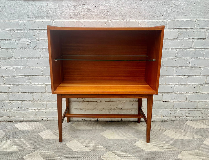 Small Vintage Teak Cabinet Bookshelf #D477