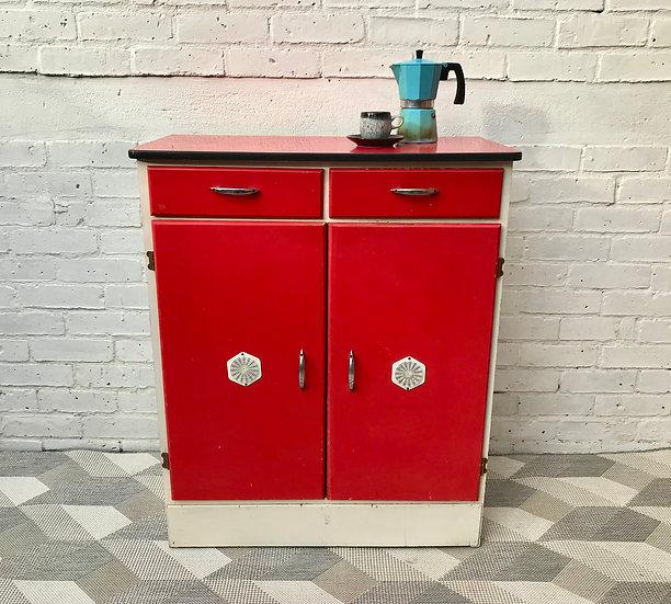 Vintage Retro Kitchen Cabinet Unit Red #472