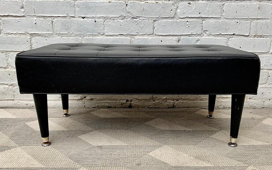 Vintage Black Vinyl Footstool Pouffe Ottoman #D345