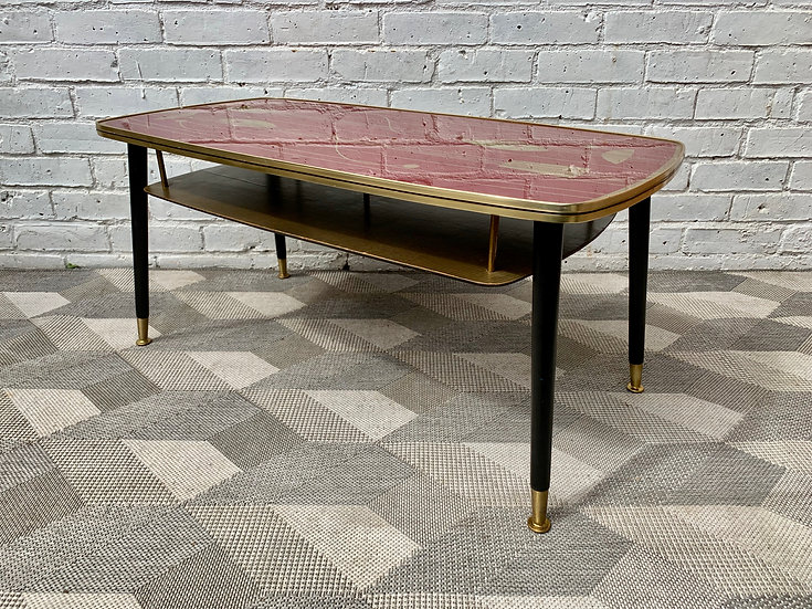 Vintage Coffee Table with Shelf #D125