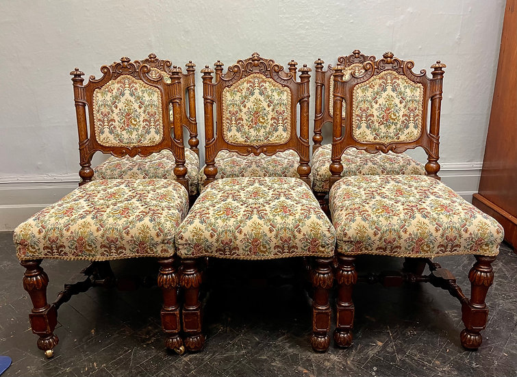Set of 6 Victorian Gothic Dining Chairs front