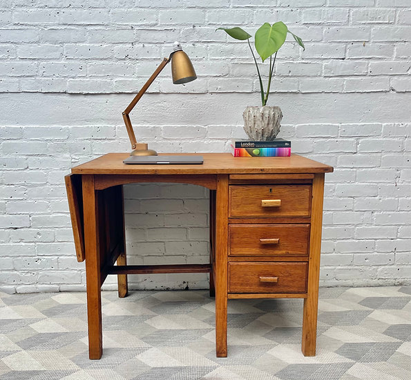Vintage Wooden Extending Desk with Drawers