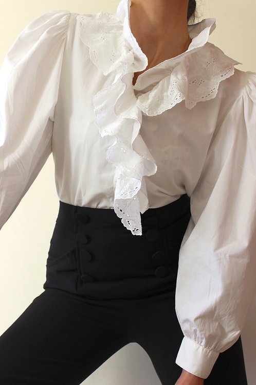 Vintage Pure Cotton Ruffle Collar Austrian Blouse