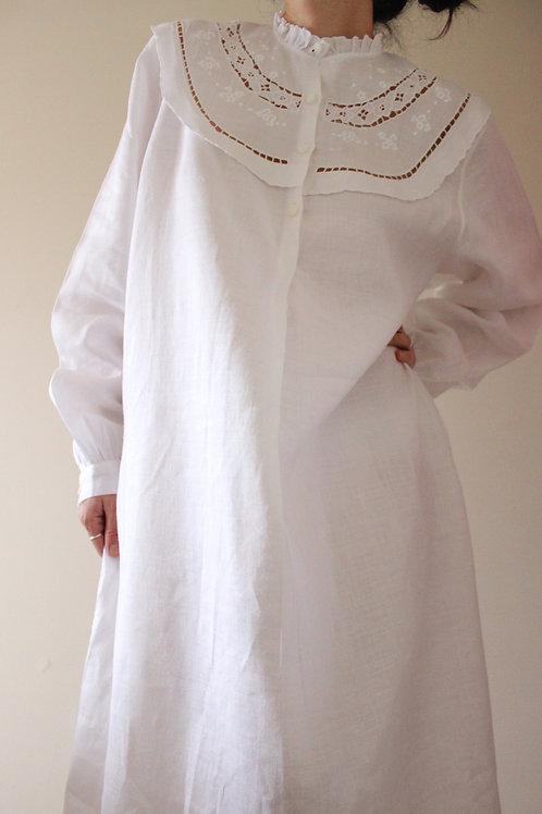 Vintage Pure Linen Broderie Maxi Dress