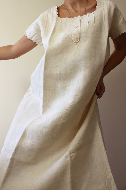 Antique Unbleached Linen Chemise with Scalloped Hem