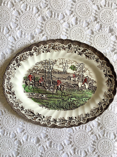 Vintage Hand-Engraved Staffordshire Oval Serving Plate MADE in ENGLAND