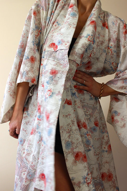 Full Length Vintage Japanese Silk Crêpe Kimono