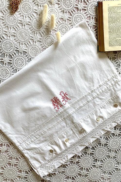 ANTIQUE Pure Cotton Monogrammed Pillow Case with Crochet Detail