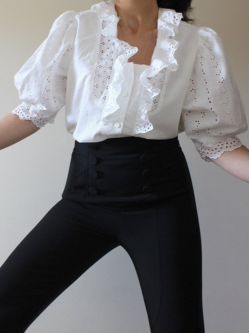 Broderie Anglaise Austrian Blouse with Puff Sleeves