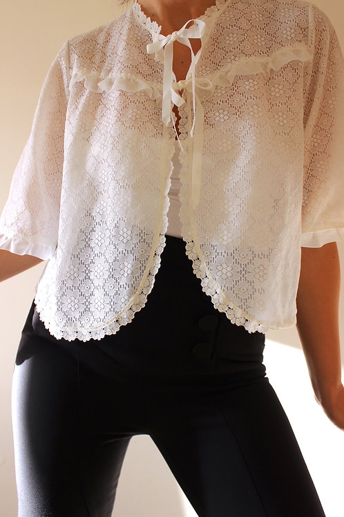60s Vintage Sheer Ruffle Top with Bows
