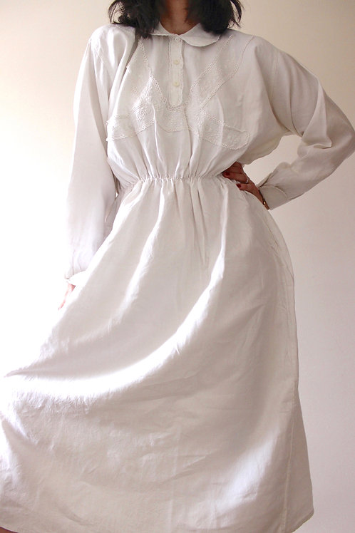 Antique Pure Linen Dress with Peter Pan Collar