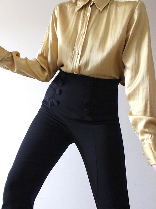 Vintage 100% Silk Liquid Gold Shirt by Galeries Lafayette